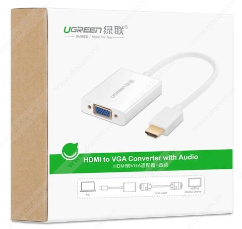 Cáp chuyển đổi HDMI to VGA Ugreen 4012 chính hãng